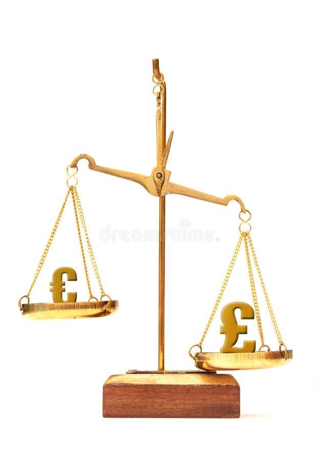 Valutavärdeeuro och pund royaltyfria foton