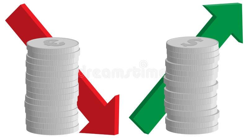 Valutavalutakurs, euro ner, dollar upp stock illustrationer