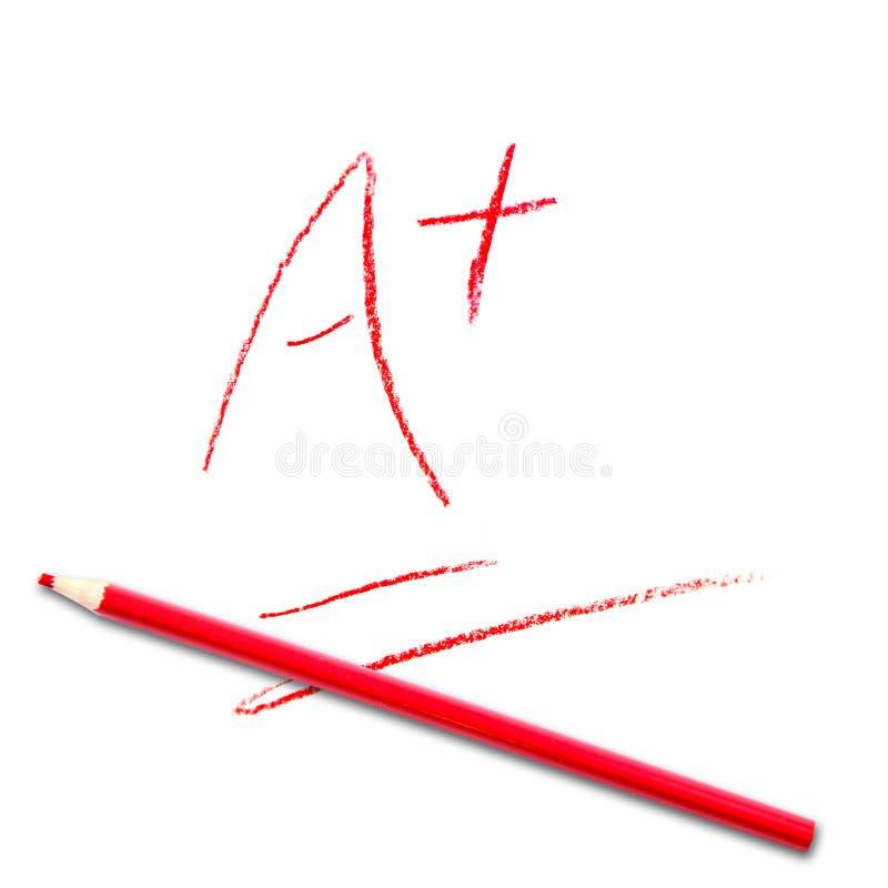 Valutazione del test A+ della scuola illustrazione di stock