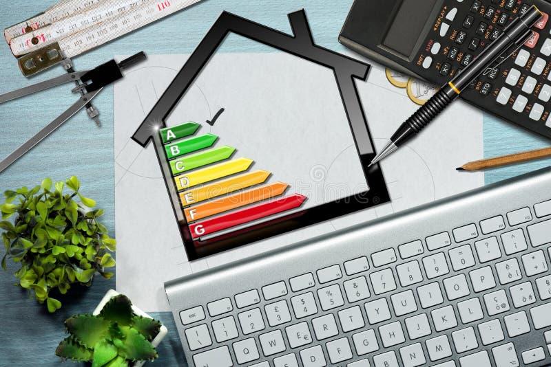 Valutazione di rendimento energetico con il modello della Camera illustrazione vettoriale