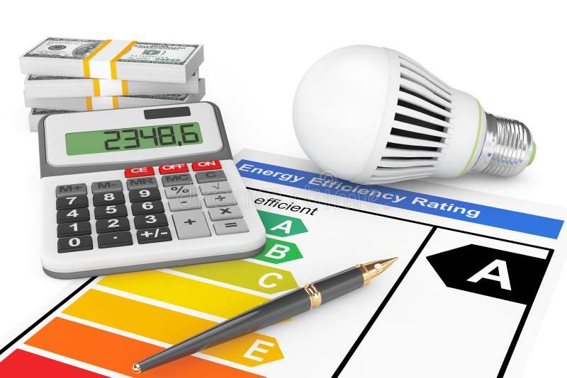 Valutazione di rendimento energetico con la lampadina del LED illustrazione di stock