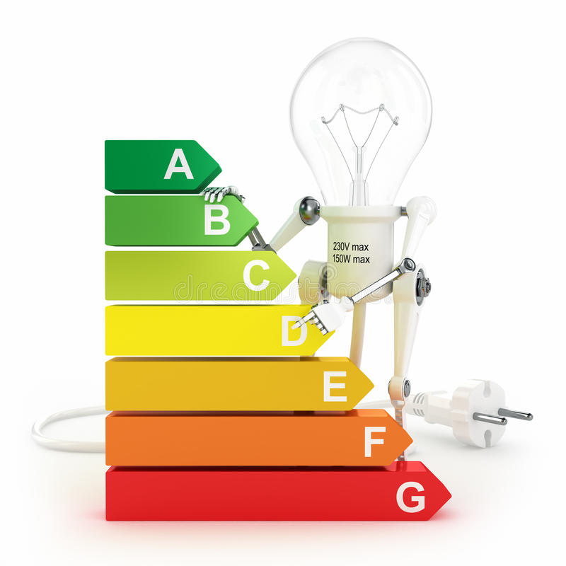 Valutazione di rendimento energetico e lampada del robot royalty illustrazione gratis
