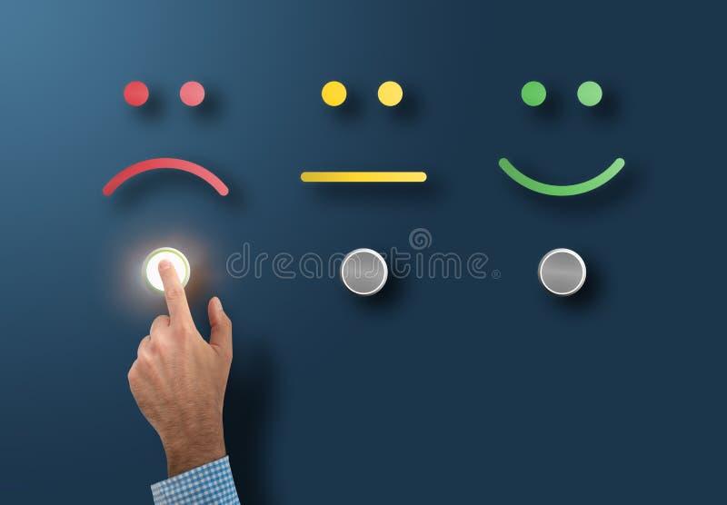 Valutazione di servizio e concetto di indagine con il cliente insoddisfatto che tocca il bottone dell'interfaccia con il fronte t royalty illustrazione gratis