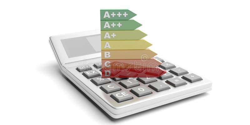 Valutazione e calcolatore di rendimento energetico su fondo bianco illustrazione 3D illustrazione di stock
