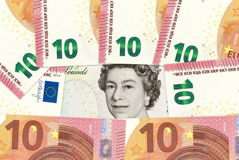 Valute internazionali compreso l'euro, sterlina britannica fotografie stock