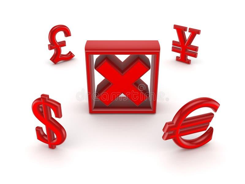 Valutor runt om Röda kor markerar. royaltyfri illustrationer