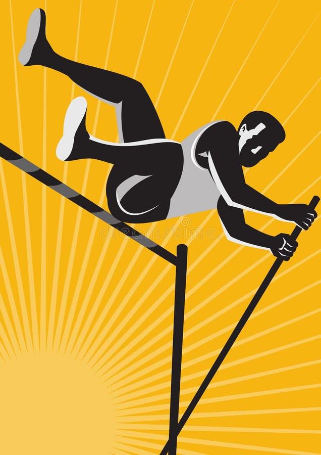 valv för spår för pol för idrottsman nenfälthöjdhopp retro stock illustrationer