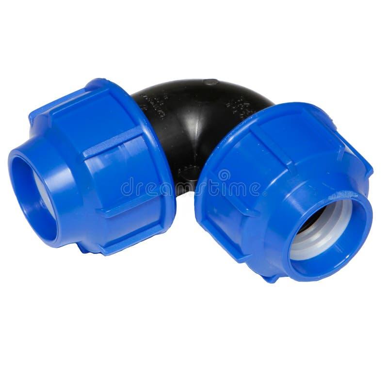 Valve en plastique de connexion de conduite d'eau en métal ou de PVC, mettant d'aplomb photo stock