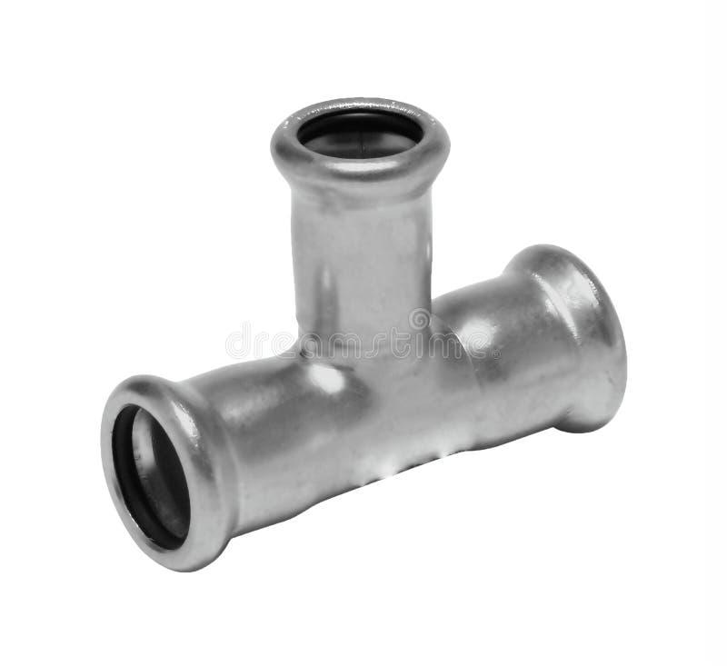Valve en plastique de connexion de conduite d'eau en métal ou de PVC, mettant d'aplomb photographie stock libre de droits