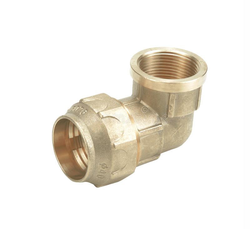 Valve en plastique de connexion de conduite d'eau en métal ou de PVC, mettant d'aplomb image libre de droits