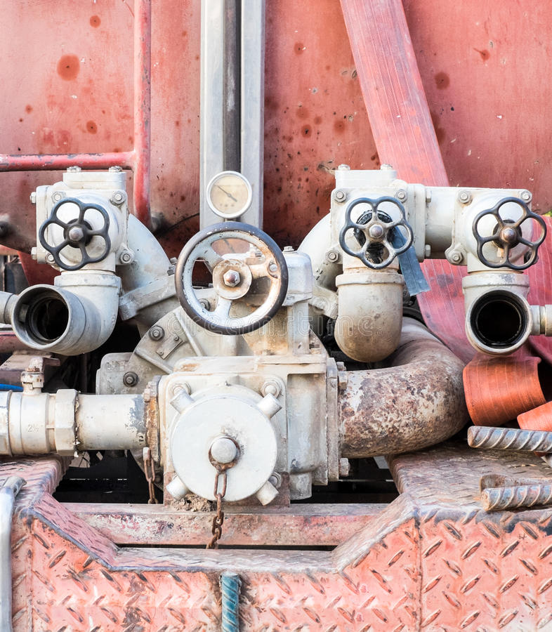 Valve fire control. On firetruck stock photography