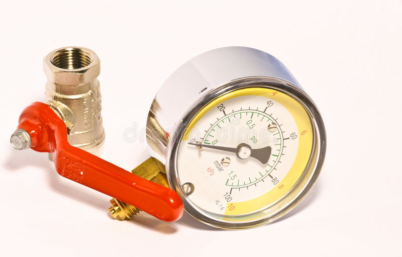 Valve with manometer. Valve close up for heating water gas installation with manometer stock photos