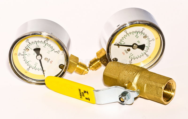Valve with manometer. Valve close up for heating water gas installation with manometer stock photo