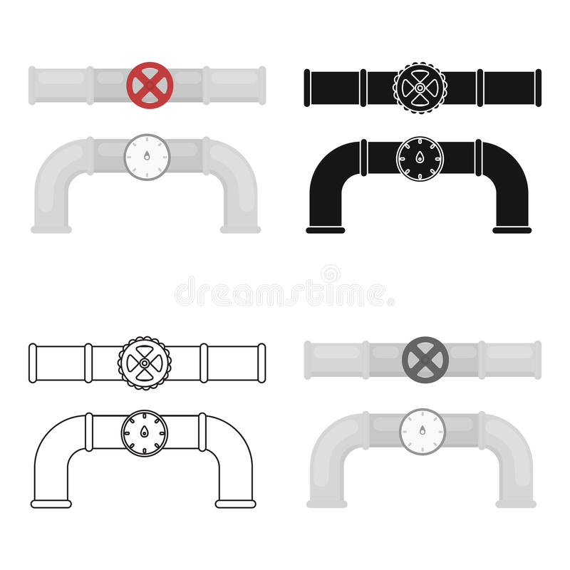 Valve And Meter Icon In Cartoon Style On White Background. Plumbing ...
