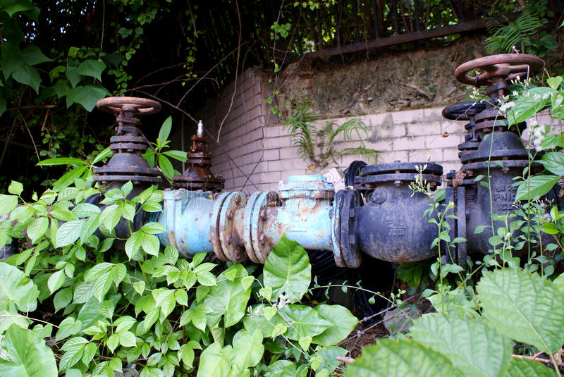 The valve of pipeline steel rust stock photography