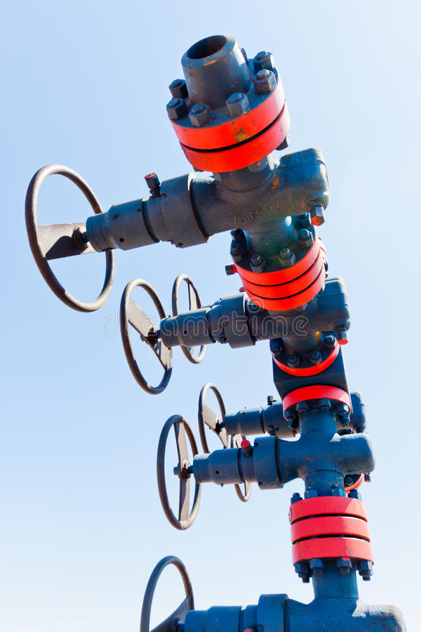 Valve on production wellhead royalty free stock photography