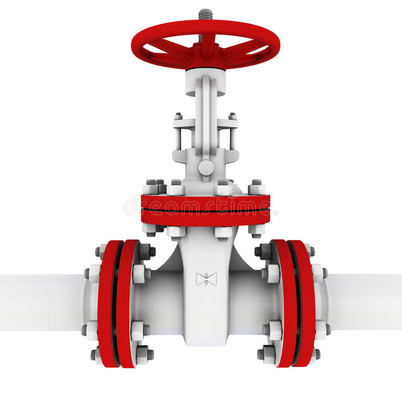 Valve for pumping oil. 3d rendering vector illustration