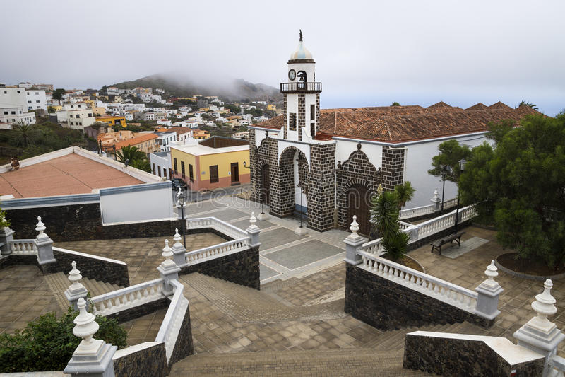 Valverde church. Birds view, El Hierro stock photo