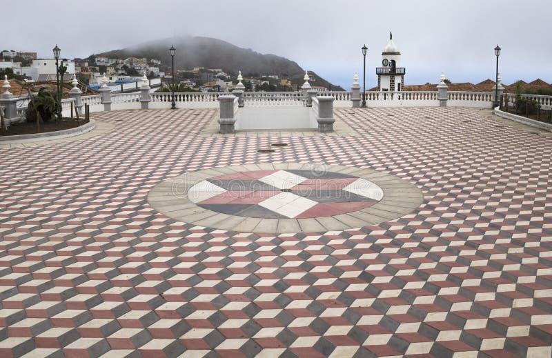 Valverde plaza church. El hierro main city with church royalty free stock photo
