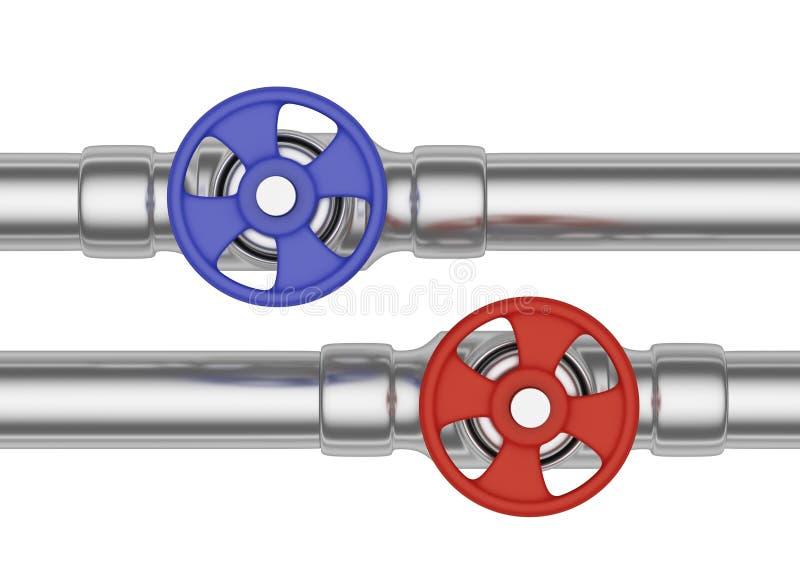 Valves bleues et rouges sur la vue de face de tuyaux d'acier illustration libre de droits