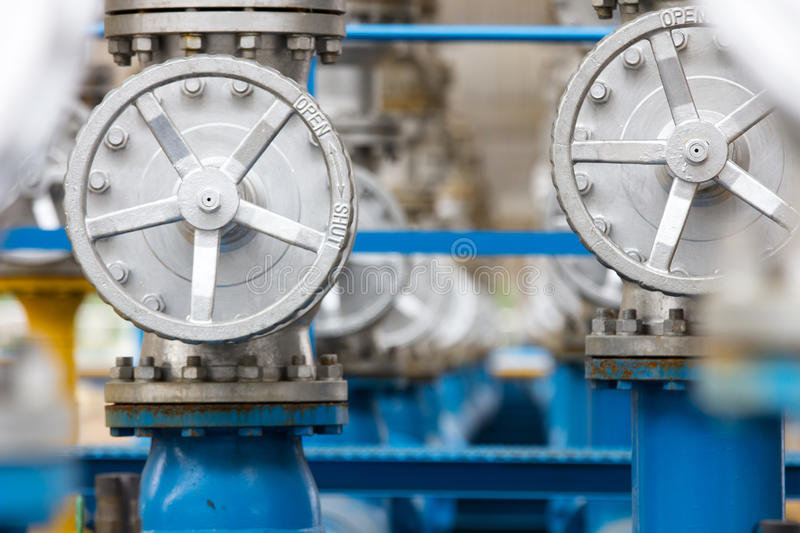 Valves at gas plant. Staion royalty free stock photography