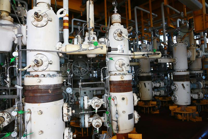 Valves manual in the process,Production process used manual valve to control the system,dirty or old manual valve,valve in oil stock photo