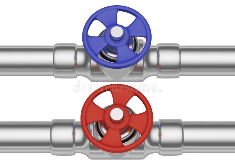 Valves rouges et bleues sur la vue de face de tuyaux d'acier illustration libre de droits