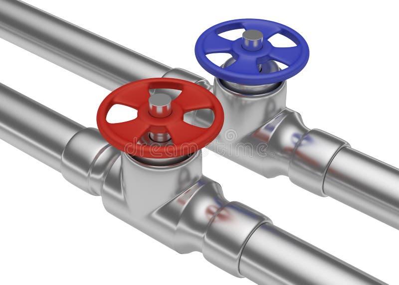 Valves rouges et bleues sur le plan rapproché de tuyaux d'acier illustration libre de droits