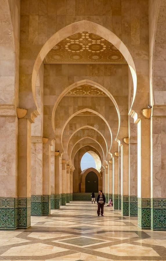 Valvgångpassage på moskén Hassan II Casablanca Marocko royaltyfri fotografi