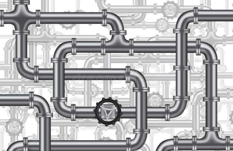 Valvola degli oleodotti dell'acqua dell'impianto idraulico isolata illustrazione vettoriale
