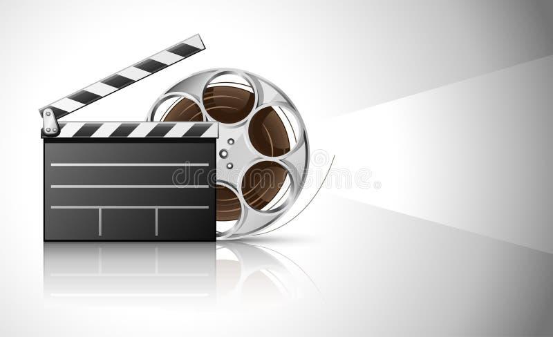 Valvola del cinematografo e nastro della pellicola del video sul disco illustrazione vettoriale
