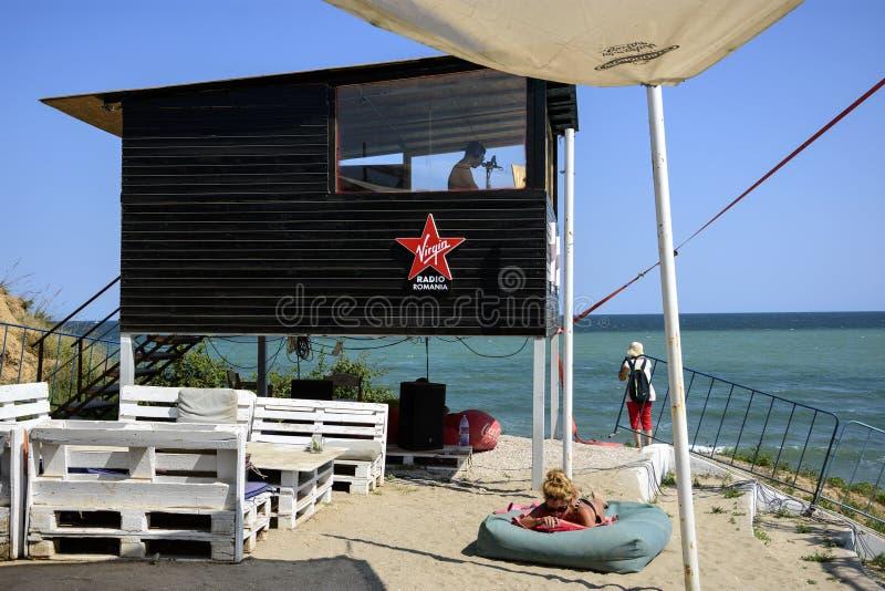 Vama Veche海滩的,罗马尼亚无线电维尔京 库存图片