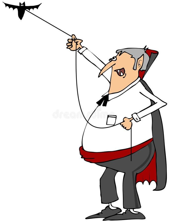 Vampier die zijn knuppel lopen stock illustratie