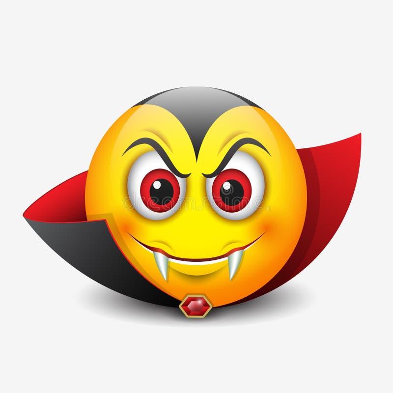 Vampier emoticon, emoji, smiley - vectorillustratie royalty-vrije illustratie