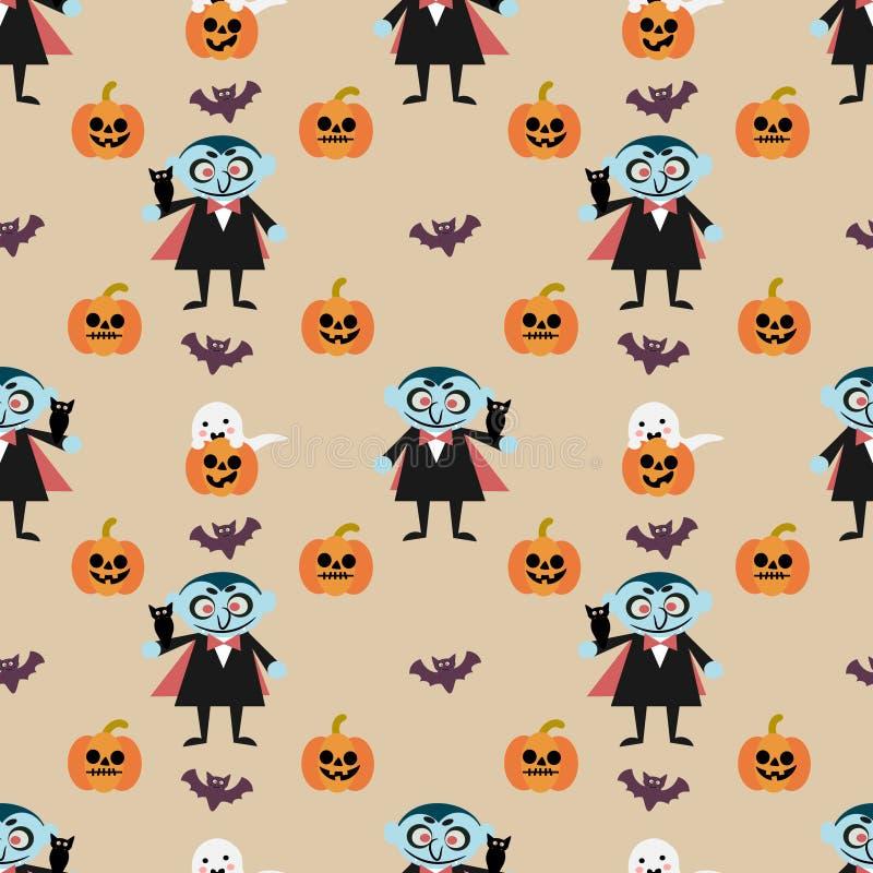 Vampier en Halloween-pompoen naadloos patroon stock illustratie