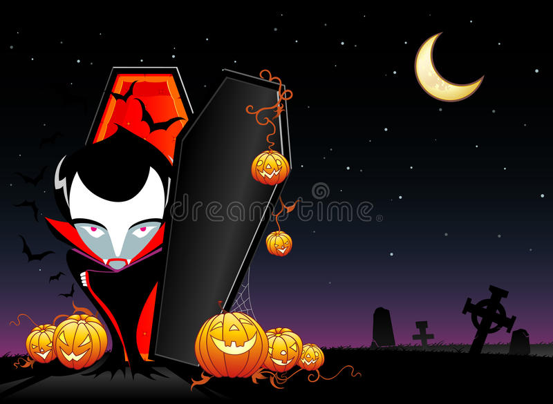 Vampier Gewekt Halloween stock illustratie