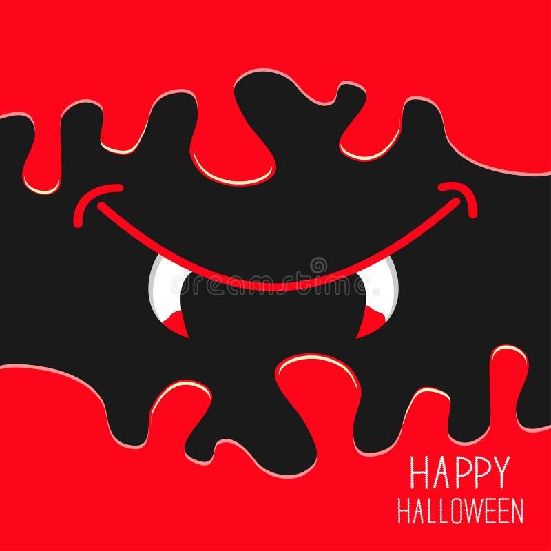 Vampiermond met hoektanden Het stromen onderaan bloed De kaart van Helloween Vlak ontwerp griezelige als achtergrond royalty-vrije illustratie