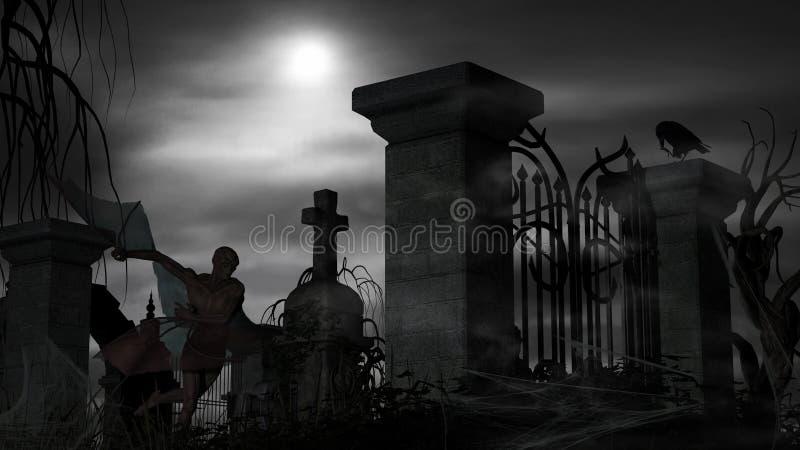 Vampir an einem Friedhof auf einer nebeligen Nacht mit Vollmond lizenzfreie stockfotografie