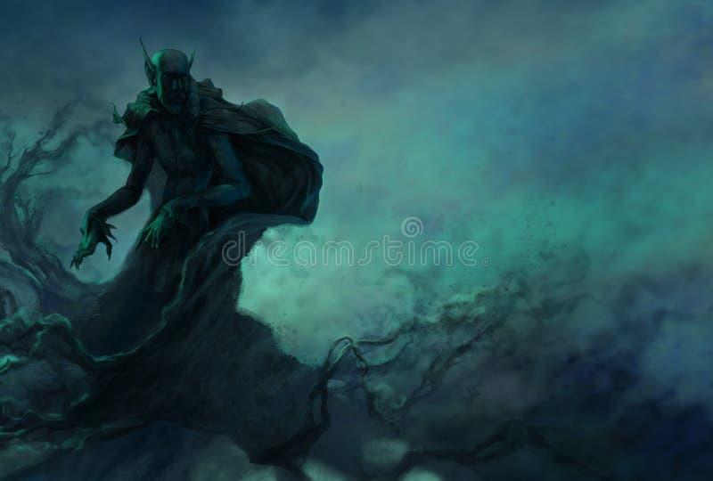 Vampir im nächtlichen Himmel lizenzfreie abbildung