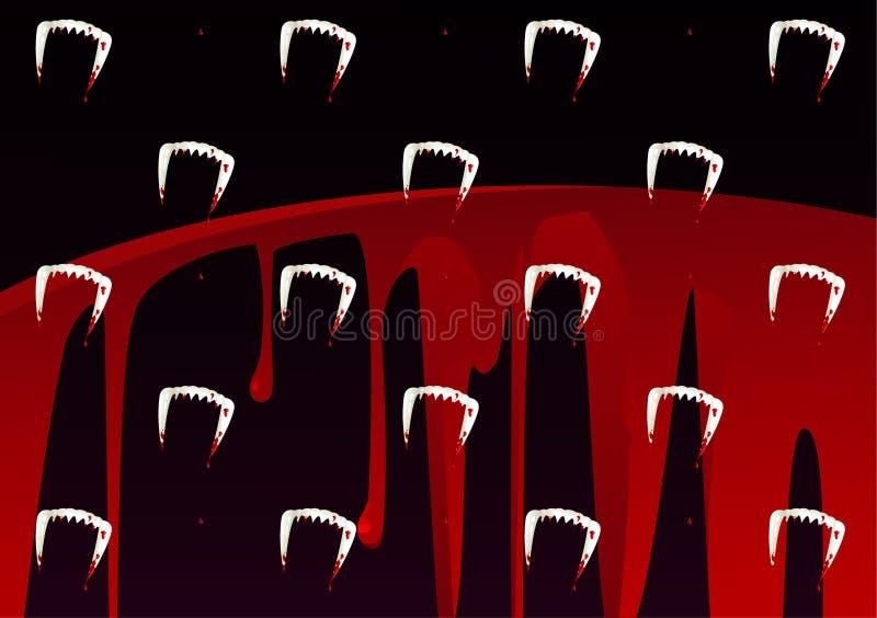 Vampir-Zahn und Blut-Muster lizenzfreie abbildung