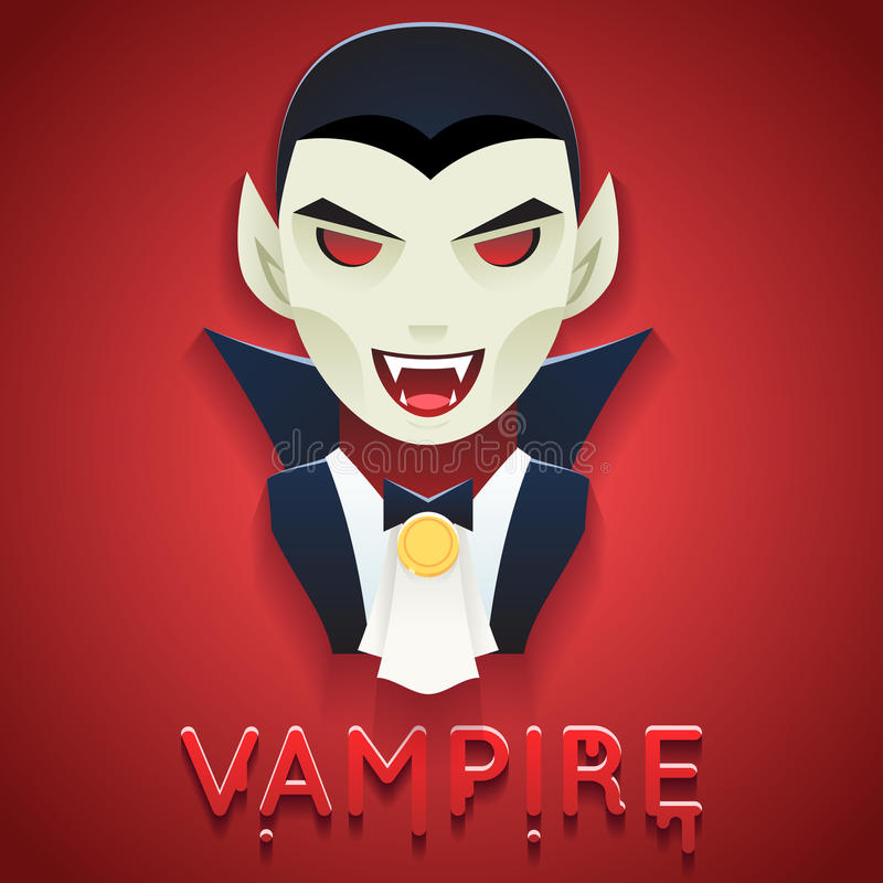 Vampire Avatar Role Character Bust Icon Halloween Party Stylish Background Greeting Card Template Vector Illustration royalty free illustration