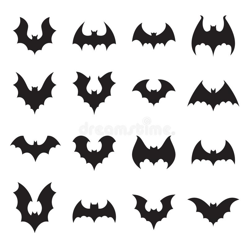 Vampire bat silhouette. Halloween bats decoration, hanging cave flittermouse and scary rearmouse animal vector royalty free illustration