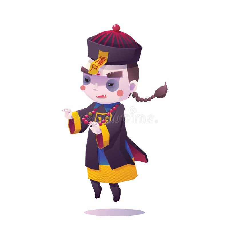 Vampire chinois Ghost de houblonnage pour Halloween illustration de vecteur