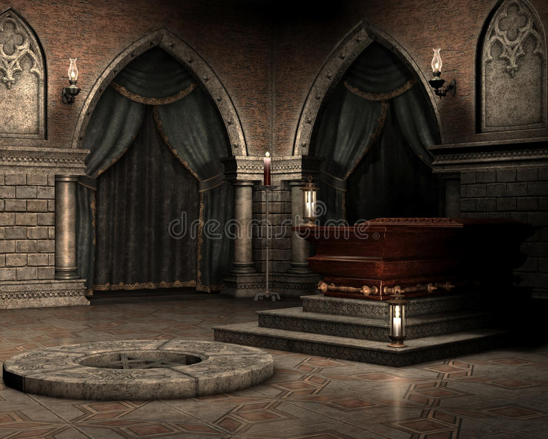 Vampire crypt. Fantasy vampire crypt with a coffin stock illustration