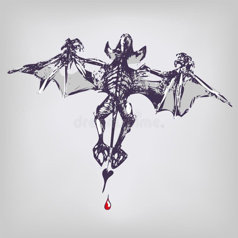 Vampire et chauve souris de dessin illustration de vecteur - Chauve souri vampire ...