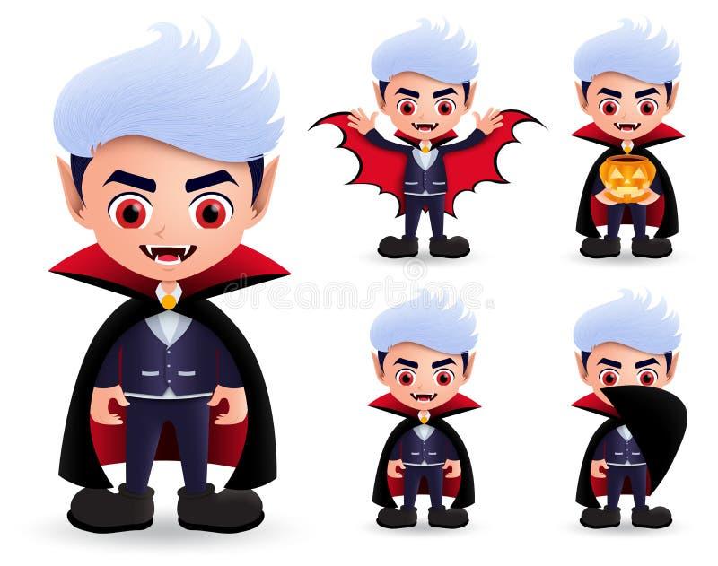 Vampire halloween characters vector set. Male vampire dracula character wearing halloween costume. royalty free illustration