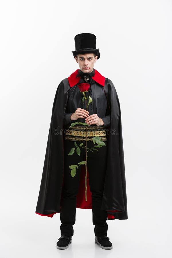 Vampire Halloween Concept - Full length Portrait of handsome caucasian Vampire giving red rose. royalty free stock photos