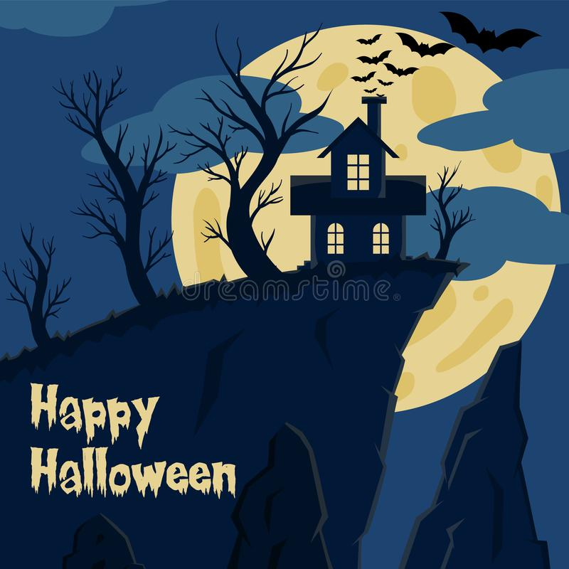 Vampire house at cliff edge vector illustration with moon and bat for halloween banner also can use for media social feed royalty free illustration
