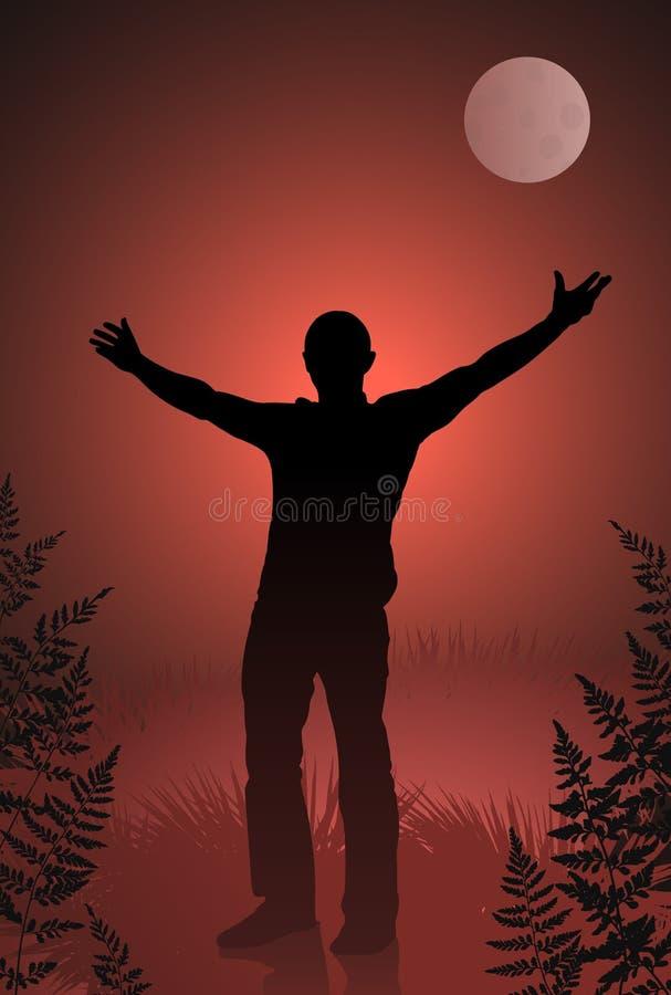Vampire mâle avec les bras tendus sur le ciel sanglant illustration libre de droits