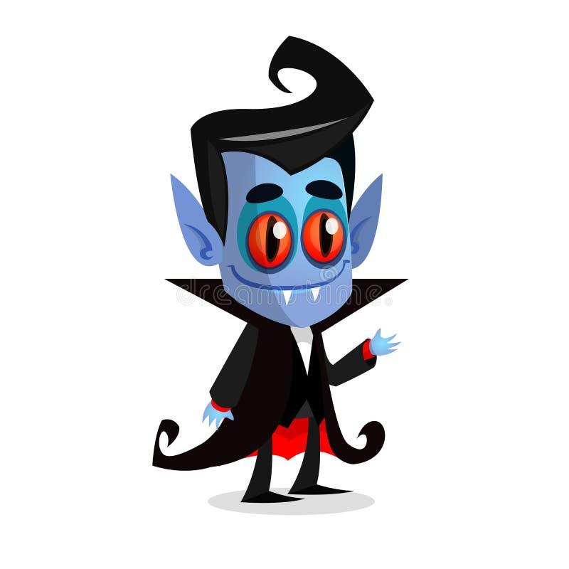 Vampire mignon de bande dessinée avec les yeux rouges Illustration de vecteur de Dracula illustration de vecteur